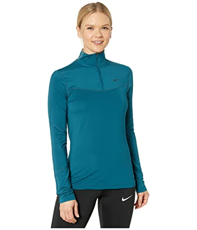 Nike Pro Warm Top 1/2 Zip (Midnight Turquoise/Black) Women