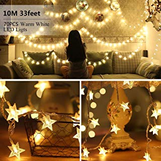 Star LED String Lights - 70 LED 33 FT Twinkle Star Fairy Lights Waterproof for Outdoor, Indoor, Bedroom, Wedding, Party, Christmas Tree Halloween Garden Decorations