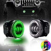 TURBOSII DOT 4Inch LED Fog Lights with RGB Halo for Jeep Wrangler JK JKU TJ LJ Edition Rubicon Sahara Unlimited Dodge Chrysler Cherokee Led Fog Lamps Front Bumper Lights Projector Angle Eye DRL