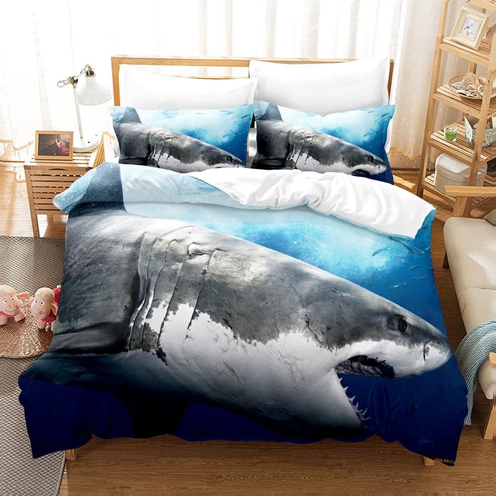 3D Shark Max 70% OFF Cheap mail order sales Fish Bedding Duvet Set Quilt Kids Printed Cover