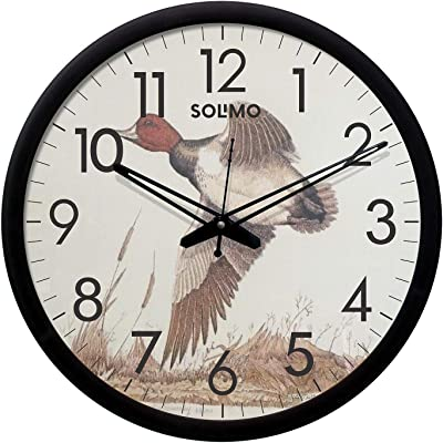 Amazon Brand - Solimo 12-inch Plastic & Glass Wall Clock - Bird Fly (Silent Movement, Black Frame)