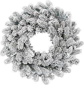 "KING OF CHRISTMAS 24"" King Flock Wreath Unlit"