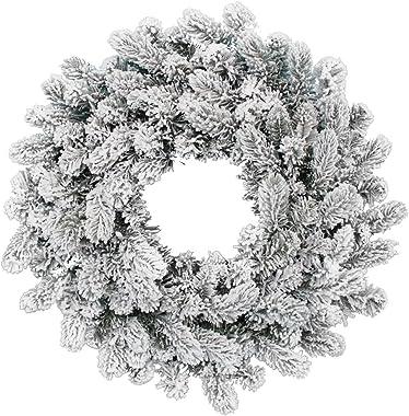 "KING OF CHRISTMAS 24"" King Flock Artificial Christmas Wreath Unlit"