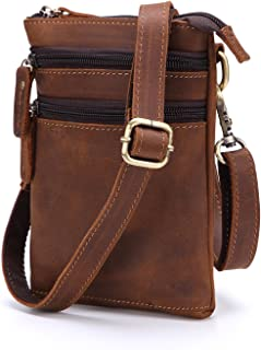 Haibeisi Fashion Unique Men's Handmade Leather Shoulder Bag Leather Crazy Horseskin Crossbody Bag Multifunctional Beltable Small Pocket (Color : Brown, Size : M)