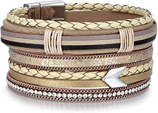 Women Multilayer Leather Cuff Bracelet Handmade Wristband Weave Style Wrap Bangle with Magnetic Buckle Jewelry for Ladies Girls