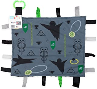 Baby Sensory, Security & Teething Closed Ribbon Tag Lovey Blanket with Minky Dot Fabric: 14?X18? (Dark Magic)