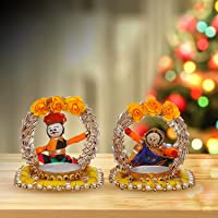 JH Gallery Rajasthani Dolls Jharokha Tealight Recycled Material 2 Candle Holder, Multicolor (3 * 6 Inches, 1 Pair)