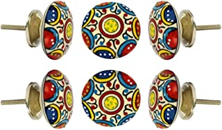 Set of 6 Cabinet Knobs Ceramic Canterbury Handmade Drawer Pull Diameter 2.0