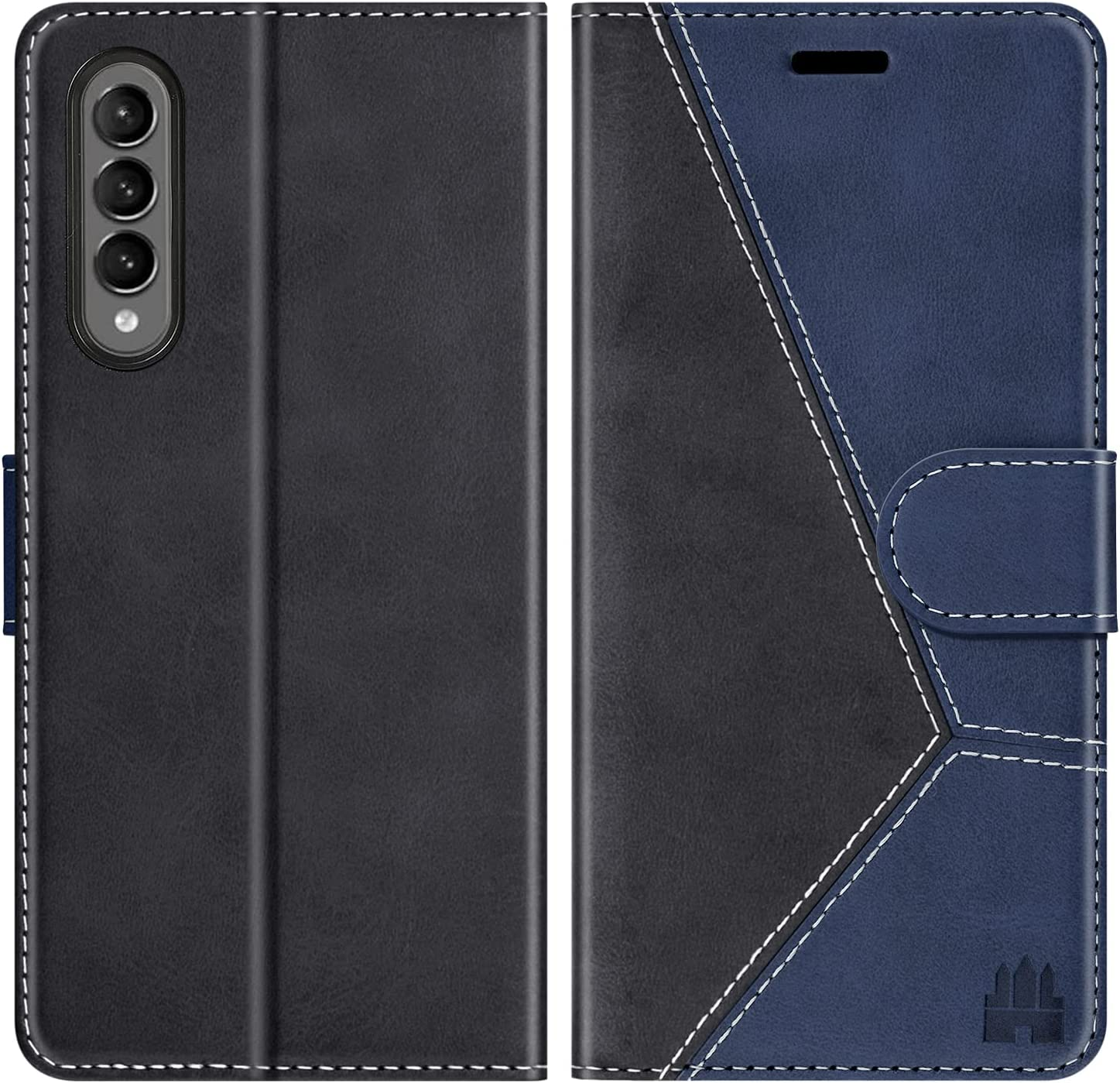 Caislean Galaxy Z Fold 3 Wallet Case, FRID Blocking Card Holder, Luxury PU Leather Attached Hard PC Inner Case Magnetic Closure Protective Flip Phone Cover for Samsung Galaxy Z Fold 3 5G Navy Blue