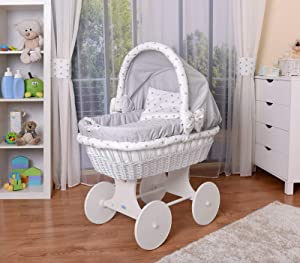 WALDIN Baby Wicker Cradle  Moses Basket  Models Available White Painted Stand Wheels Textile Colour Grey Grey Stars