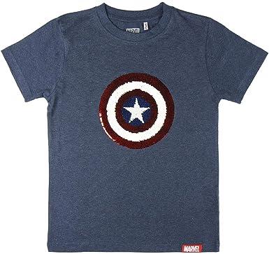 Cerdá - Marvel Los Vengadores | Camiseta Escudo Capitan America Niño de Lentejuelas - 100% Algodon