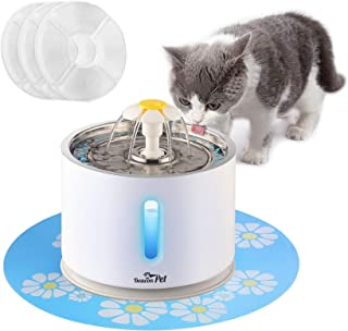 Beacon Pet Cat Water Fountain Stainless Steel, LED 81oz/2.4L Automatic Pet Fountain Dog Water Dispenser with 3 Replacement Filters & 1 Silicone Mat for Cats