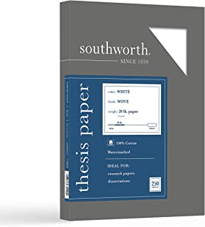 """Southworth 100% Cotton Thesis Paper, 8.5"""" x 11"""", 20 lb/75 gsm, Wove Finish, White, 250 Sheets - Packaging May Vary (35-12..."""