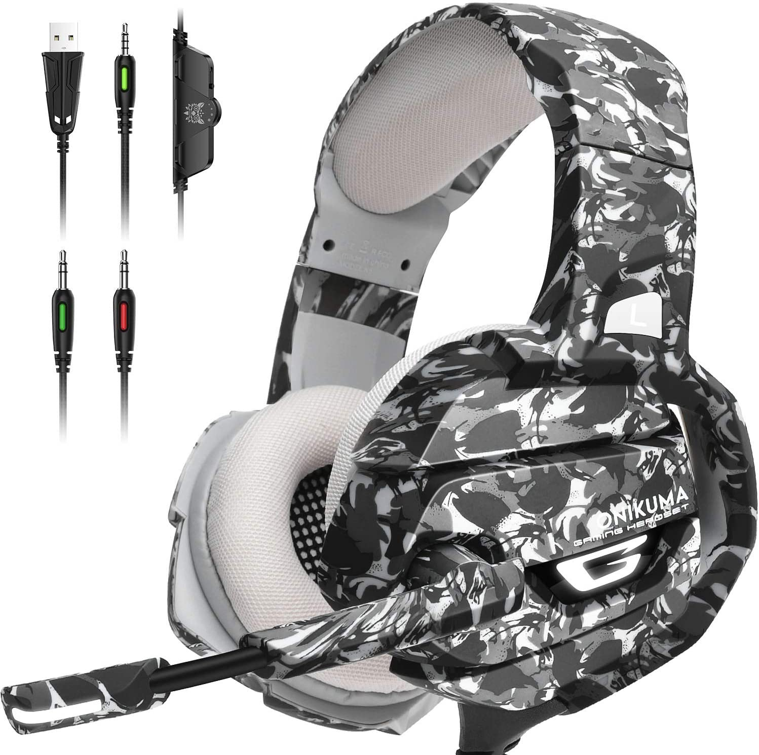 ONIKUMA Gaming Headset PS4 Headset with 7.1 Surround Sound, Xbox One Headset with Noise Canceling Mic & LED Light,Memory Earmuffs for PS4, MAC, PC,PS2,Xbox One Controller,Nintendo 64, Game Boy