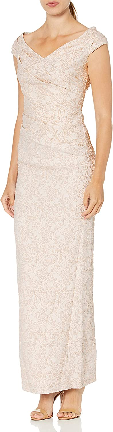 Calvin Klein Women's Off The Purchase with Genuine Ruched Shoulder Detail Gown