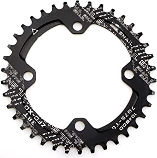CYSKY Narrow Wide Chainring 104BCD 32T 34T 36T 38T Bike Single Chainring for 9 10 11 Speed, Perfect for Most Bicycle Road Bike Mountain Bike BMX MTB Fixie Track Fixed-Gear Bicycle (Round, Black)