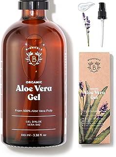 GEL ALOE VERA BIO | Fabriqué avec Pulpe d'Aloe Fraîche 100% Pure et Lavande Bio | Sans Xanthane | Visage, Contour des Yeu...