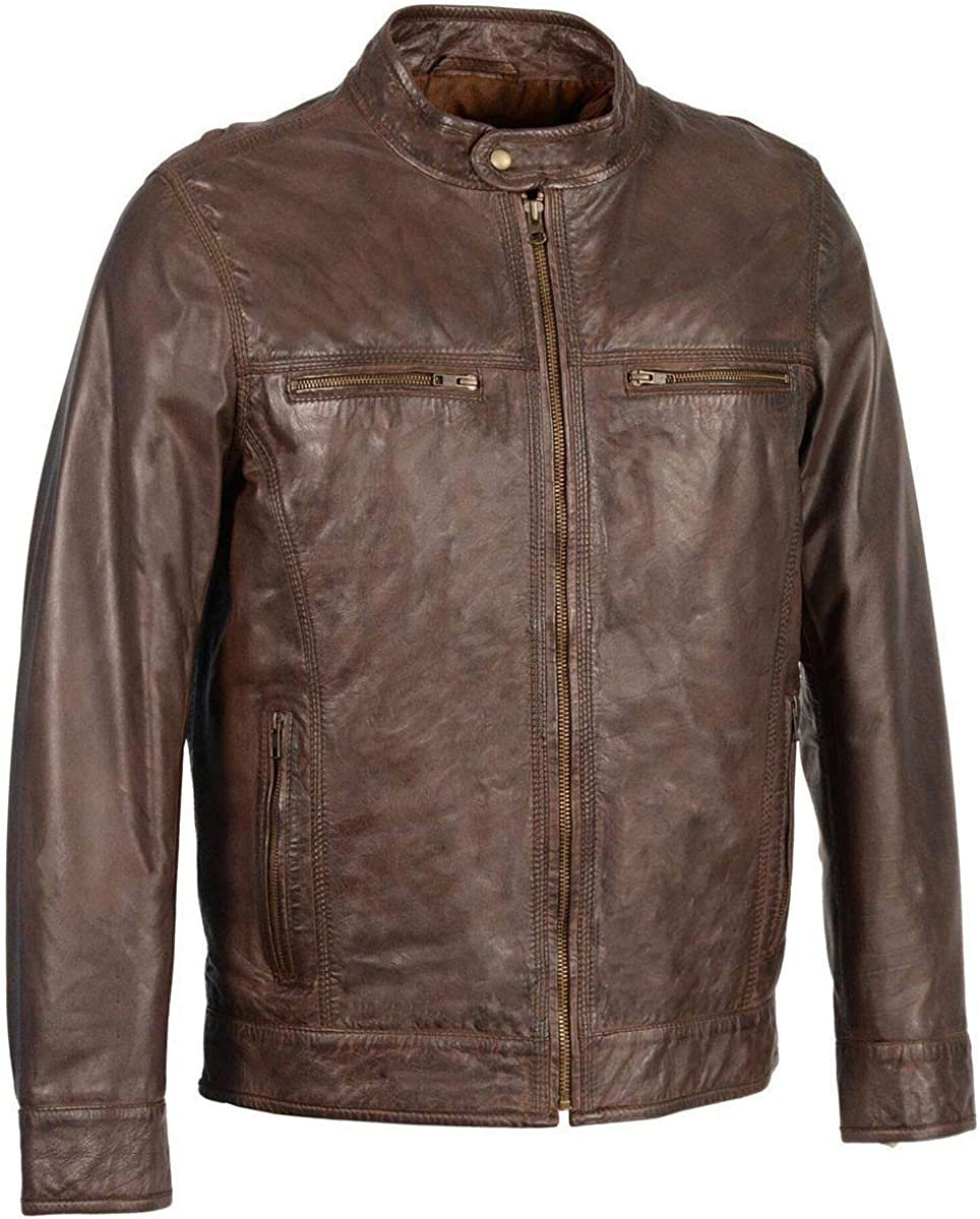 Milwaukee Leather SFM1865 Broken Brown Men's Classic Zipper Front Leather Jacket - Large