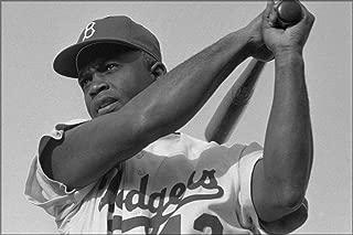 20x30 Poster; Jackie Robinson Swinging A Bat In Dodgers Uniform, 1954