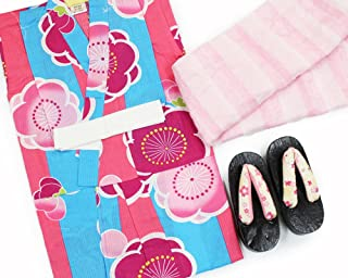 【女の子浴衣3点セット(100)】【ブルーとピンク系/ピンク系】3?4歳 兵児帯 下駄 キッズ ガールズ