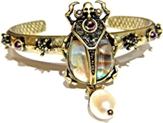 Abalone Shell Scarab Beetle Bangle Egyptian Revival Cuff Bracelet Insect Crystal