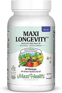 Maxi Health Longevity - Multivitamins & Minerals Supplement for Men Over 50-60 Capsules - Kosher