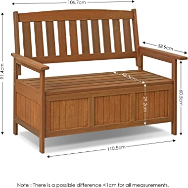 Furinno FG17353 Tioman Outdoor Hardwood Patio Furniture Kent Storage Bench in Teak Oil, Natural