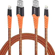 EVISTR Lightning Cable MFi Certified - 2 Pack 6FT Charging Cord Compatible for iPhone 11, X, Xs, XR, 8, 7, 6, iPad, Nylon Braid Sync Data Fast USB Charger