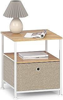 Nattduksbord med lådor i tyg och öppet fack mini soffbord sidobord kvadratiskt metall sängbord sängskåp nattkonsol för var...