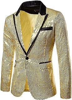 Tosonse Blazer Charm Men's Casual Fleece Jacket One Button Fit Suit Blazer Coat Jacket