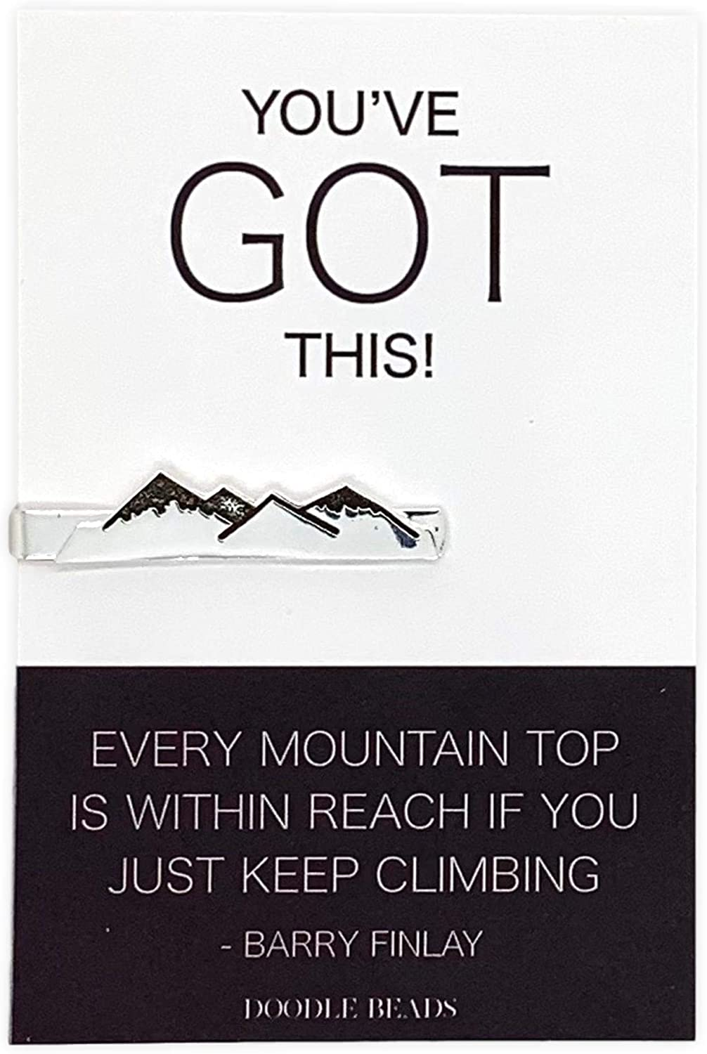 Doodle Beads Mountain Tie Clip with Card - You've Got This, far Better Things Ahead, Encouragement Gift, Motivational Gift, Inspirational Graduation Gift