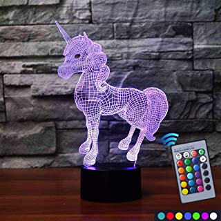 Carryfly Unicorn Night Light Bedside Lamp 7 Colors Change + Remote Control with Timer Kids Night Light Optical Illusion Lamps for Kids Lamp As Gift Ideas for Boys or Kids