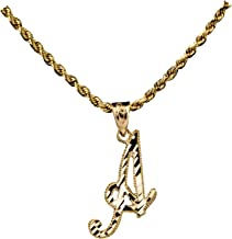 LoveBling 10K Yellow Gold Diamond Cut Cursive Initial Pendant Charms Available Letters from A to Z