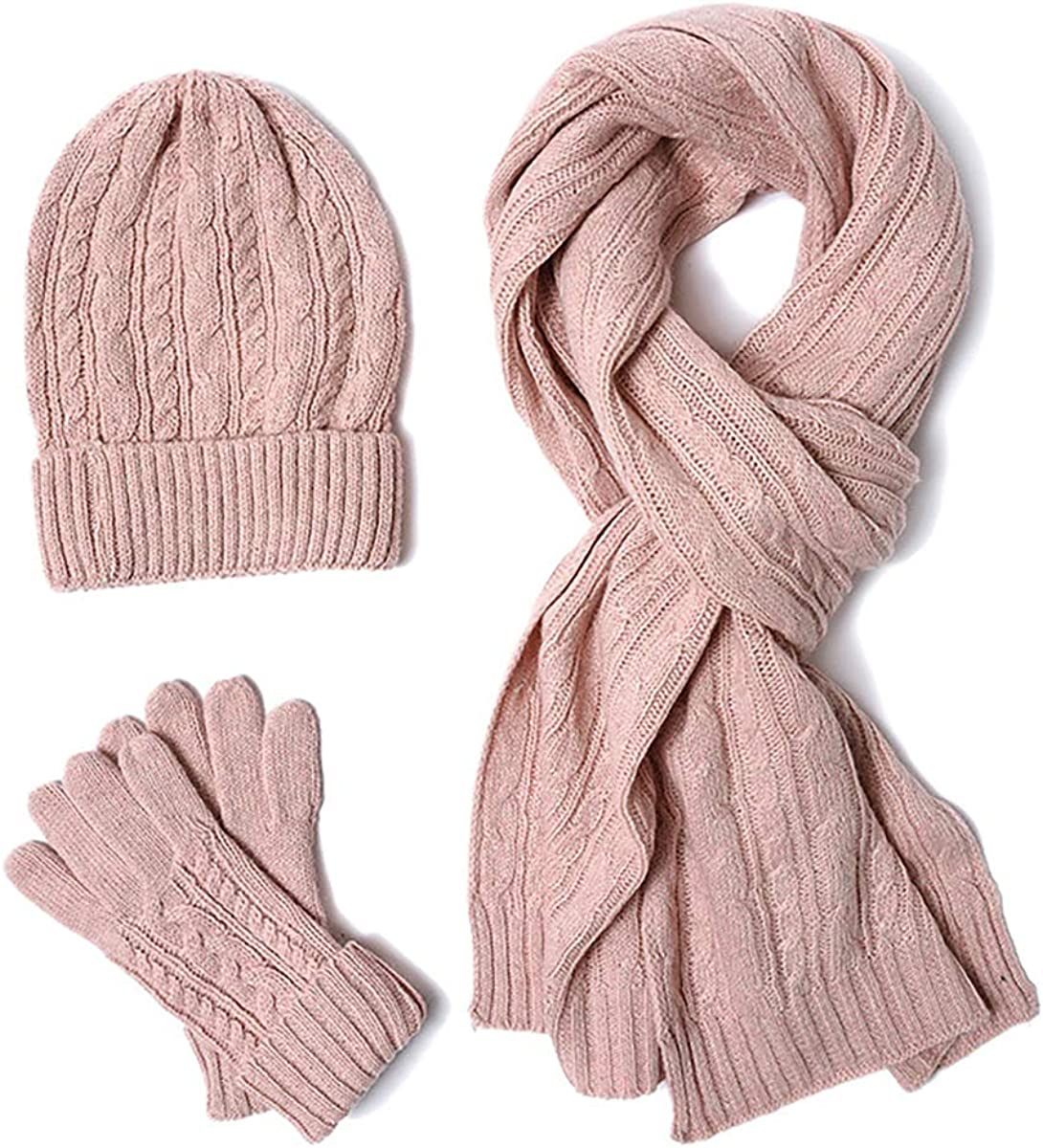 jweemax Hat Scarf Glove Sets, Stripe Ribbed Warm Thick Fashion Hat Mittens Winter Knitted Set for New Year's Gift