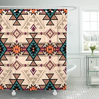 Emvency Shower Curtain Pink Retro Color Tribal Navajo Aztec Fancy Abstract Geometric Ethnic Hipster Design Weave Summer Waterproof Polyester Fabric 72 x 72 inches Set with Hooks