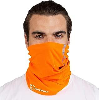 High Visibility Reflective Safety Face Clothing - Neck Gaiter, Bandana Dust Mask, Sun Shade Shield, Multifunctional Headwear (Orange)