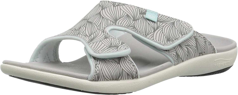 Spenco Women's Kholo Wave Slide Sandal, grey, 7 Wide US