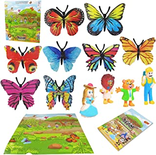 Dorakitten Kids Butterfly Toys Set Funny Educational Butterfly Model Toy Scene Toys Party Toddlers Birthday Gift Reusable ...