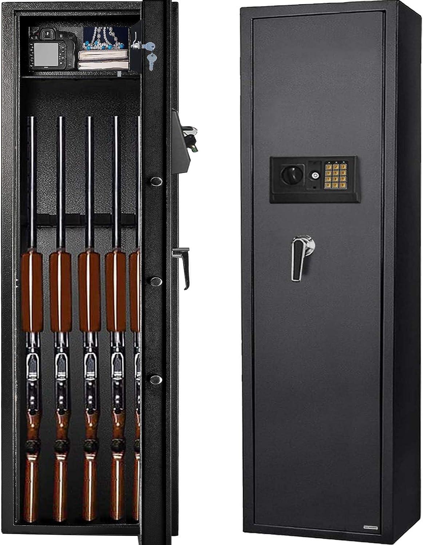 Gearmart Fast Access Gun Safe Rifle Safe Larger and Durable for 5-6 Gun Shotgun Cabinet (Larger Rifle Safe-Electronic)