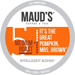 Maud's Pumpkin Spice Coffee, 50ct. Recyclable Single Serve Coffee Pods – Richly Satisfying Arabica Beans California Roasted, K-Cup Compatible Including 2.0