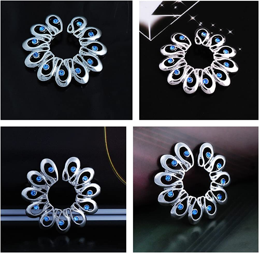 CrazyPiercing 1Pair Surgical Steel Blue Faux Crysta Tribal Floral Clip on Non-Pierce Fake Nipple Ring