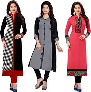 RAMDEV Women's cotton straight Kurta (Pack of 3) (03WHITERED17_ Multi_ Free Size)