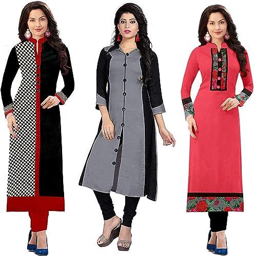 Women s Cotton Straight Kurta Pack of 3 03WHITERED17 Multi Free Size