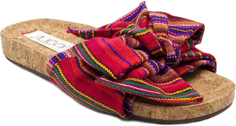 Sugar Womens Xenon Cork Flat Bow Sandal Slide Sandal