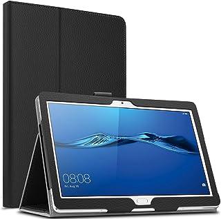 Infiland Huawei MediaPad M3 Lite 10 Funda Case, Folio PU Cuero Cascara Delgada con Soporte para Huawei MediaPad M3 Lite 10(con Auto Reposo/Activación Función)(Negro)