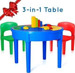 Exercise N Play Kids Activity Table Set - 3 in 1 Round Water Table, Craft Table and Building Brick Table with Storage - Includes 2 Chairs and 25 Jumbo Bricks