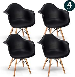VADIM - Sillón escandinavo de madera negra, sillón Conjunto de 4 sillas de comedor vintage con respaldo y reposabrazos Silla de recepción para dormitorio, sala de estar, cocina, sala de espera