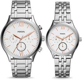 His and Her Fenmore Midsize Multifunction Stainless Steel Watch Gift Set BQ2468SET
