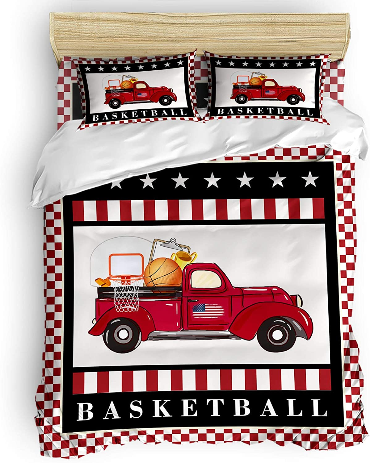 All stores are sold Superior Big buy store Red Truck Basketball Piece Star 4 Cover Set Duvet