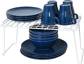 Smart Design Stacking Shelf w/Sturdy Legs - Large - Steel Metal Frame - Rust Resistant Coating - Counter, Pantry, Shelf Organization - Kitchen (16 x 10 Inch) [White]